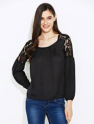 abordables -blusa de encaje de mujer (algodón) cuello redondo, moda, gasa de manga larga