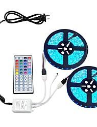 Недорогие -Комплект светодиодных лент RGB, 10 м 5050 600 светодиодов, не водонепроницаемые светодиодные ленты постоянного тока 12 В с 44-клавишным пультом дистанционного управления и адаптером питания 12 В 6