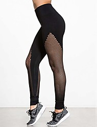 Damen Solide Genähte Spitzen Legging