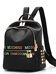 Women Bags Spring All Seasons Nylon Backpack Ruffles for Event/Party Casual Formal Outdoor Office & Career Black
