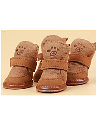 Dog Boots / Shoes Casual/Daily Snow Boots New Year's Solid Coffee Pink For Pets