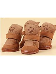 baratos -Cachorro Sapatos e Botas Casual Botas de Neve Ano Novo Sólido Café Rosa claro Para animais de estimação