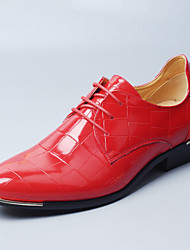cheap -Men's Shoes Patent Leather Winter Fall Novelty Comfort Wedding Shoes Walking Shoes Lace-up for Wedding Party & Evening Black Red Blue