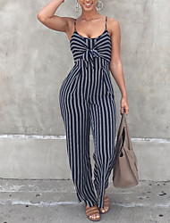cheap -Women's Daily Going out Club Vintage Casual Sexy Striped Strap Jumpsuits,Wide Leg Sleeveless Spring Summer Polyster