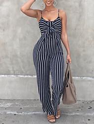 Femme simple Rétro Sexy Taille Haute Sortie Décontracté / Quotidien Soirée Combinaison-pantalon,Ample Noeud Dos Nu Rayé Printemps Eté