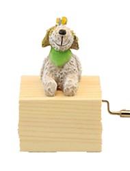 baratos -Bolas Caixa de música Brinquedos Cachorros Resina Madeira Adorável Peças Unisexo Aniversário Dom