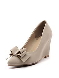 Women's Heels Comfort Spring Fall Nubuck leather Outdoor Office & Career Bowknot Wedge Heel Wine Blushing Pink Beige Black 3in-3 3/4in