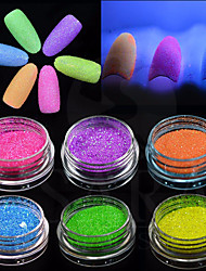 12Bottles/Set Fashion Nail Art Fluorescent Glitter Powder DIY Decoration Nail Art Beauty Glow Neon Powder Glitter 3d Nail Bright Design Pigment YG1-12