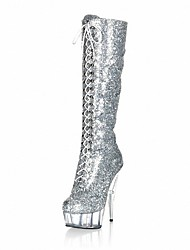 cheap -Women's Shoes Sparkling Glitter Winter Fashion Boots Boots Stiletto Heel Round Toe Knee High Boots Zipper for Party & Evening Black Silver