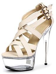 Feminino Sandálias Sapatos formais Flocagem Verão Social Festas & Noite Cristais Tachas Presilha Salto Agulha Preto Bege 12 cm ou mais