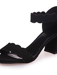 Feminino Sandálias Conforto Couro Ecológico Primavera Verão Casual Salto Baixo Preto Rosa claro Khaki Menos de 2,5cm