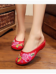 Women's Shoes Fabric Summer Comfort Slippers & Flip-Flops For Casual White Red Blue