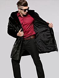 Men's Party Plus Size Casual/Daily Work Club Simple Vintage Fall Winter Fur Coat,Solid Hooded Long Sleeve Long Faux Fur CottonFur Trim