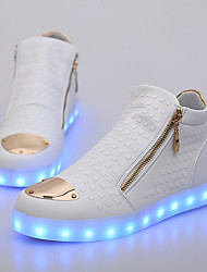 Men's Sneakers Comfort Spring Fall PU Casual Zipper LED Flat Heel White Black Under 1in
