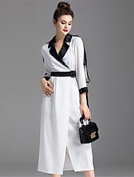 cheap -ZIYI Women's Daily Casual Swing Dress,Patchwork Shirt Collar Midi Long Sleeves Polyester Fall High Rise Micro-elastic Medium