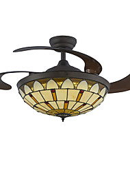 42inch Ceiling Fan Tiffany  LED Fan Light  for Living Room Bedroom Coffee Bar Dimmable