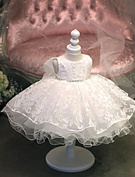 cheap -Princess Knee Length Flower Girl Dress - Cotton Tulle Jewel Neck with Lace Rhinestones by Bflower