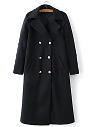 Men's Casual/Daily Simple Spring Trench Coat,Solid Shawl Lapel Long Sleeve Regular Cotton