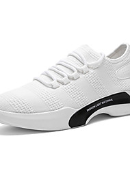 cheap -Men's Athletic Shoes Comfort Spring Fall Tulle Walking Shoes Casual Lace-up Flat Heel White Black Gray 2in-2 3/4in