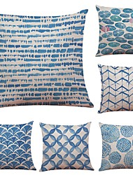 cheap -Set of 6 Chinese Ink Blue Linen Cushion Cover Home Office Sofa Square Pillow Case Decorative Cushion Covers Pillowcases (18*18Inch)