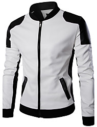 cheap -Men's Daily Simple Casual Winter Leather Jacket,Color Block Stand Long Sleeve Regular PU