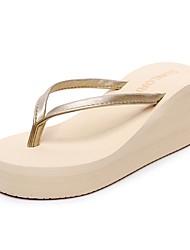 Women's Slippers & Flip-Flops Comfort Slippers Light Soles Synthetic Microfiber PU Summer Casual Dress Wedge Heel Leopard Beige Black