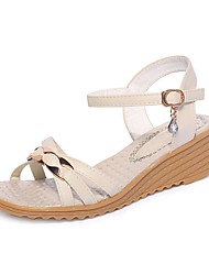 cheap -Women's Sandals Light Soles Spring Fall PU Casual Sparkling Glitter Buckle Wedge Heel Blue Beige 1in-1 3/4in