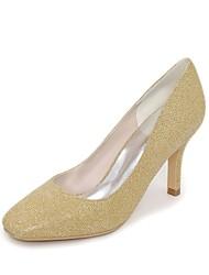 preiswerte -Damen Schuhe Glanz Frühling Sommer Pumps Hochzeit Schuhe Stöckelabsatz Quadratischer Zeh für Hochzeit Party & Festivität Gold Schwarz