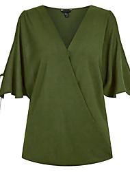preiswerte -Damen Solide Ausgehen Bluse, V-Ausschnitt