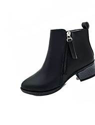 cheap -Women's Shoes PU(Polyurethane) Fall Combat Boots Boots Wedge Heel Pointed Toe Zipper Black / Burgundy