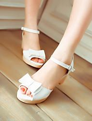 Women's Shoes PU Summer Comfort Sandals Low Heel Peep Toe For Casual White Light Purple Blue