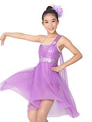 Danza classica Abiti Per donna Per bambini Da esibizione Elastene Poliester Paillettes A fantasia 2 pezzi Senza maniche NaturaleAbito