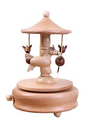 cheap -Music Box Wood Horse Carousel Unisex Gift