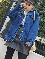 abordables -Veste en jean Femme Quotidien simple Décontracté Printemps Automne Manches longues Col de Chemise Normal Autres Imprimé
