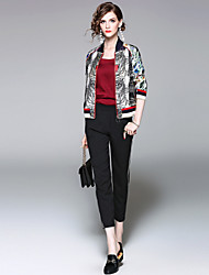 EWUS/Women's Going out Casual/Daily Street chic Fall Winter JacketLeopard Stand Long Sleeve Short Polyester
