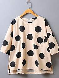 cheap -Women's Work Going out Simple Street chic Shirt - Solid Colored Polka Dot Crew Neck