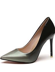 Damen High Heel Pumps Sommer PU Kleid Stöckelabsatz Grau Rot 7,5 - 9,5 cm