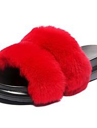 Недорогие -Жен. Обувь Кожа / мех Осень Удобная обувь Тапочки и Шлепанцы Микропоры Круглый носок для Для праздника Черный Серый Военно-зеленный