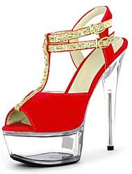 abordables -Mujer Zapatos Brillantina Verano Zapatos formales Sandalias Tacón Stiletto Punta abierta Purpurina / Hebilla / Con Cordón Rojo / Azul /
