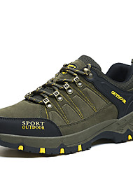 Men's Athletic Shoes Hiking Comfort Suede Spring Fall Athletic Casual Outdoor Office & Career Lace-up Flat Heel Khaki Green Flat