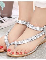 billige -Damer Sko PU Sommer Komfort Sandaler Til Afslappet Guld Sølv