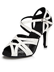 cheap -Women's Latin Shoes Leather Sandal Indoor Customized Heel Dance Shoes Black / White