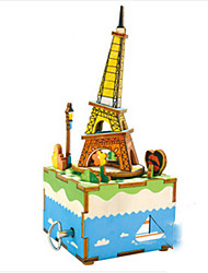 cheap -Music Box Wood Tower Horse Carousel Furnishing Articles DIY Classic Kid's Gift