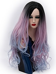 cheap -Synthetic Hair Wigs Natural Wave Ombre Hair Carnival Wig Halloween Wig Party Wig Natural Wigs Long Purple/Blue