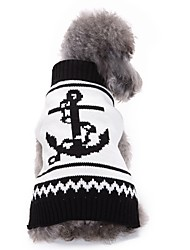 cheap -Dog Coat Sweater Christmas Dog Clothes Party Holiday Casual/Daily Fashion Wedding Sports Halloween Sailor Black/White Costume For Pets