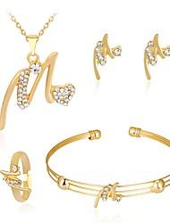 baratos -Mulheres Bracelete Brincos Curtos Colar Zircão Rosa Folheado a Ouro Liga Bola Fashion Casamento Festa Aniversário Presente Jóias de