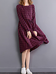 cheap -Women's Daily Going out Cute Sexy A Line Sheath Dress,Plaid Check Round Neck Above Knee Long Sleeves Cotton Linen Spring Fall High Rise