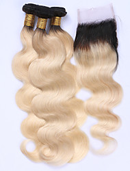cheap -Brazilian Hair Body Wave Hair Weft with Closure Human Hair Weaves Black / Bleach Blonde Human Hair Extensions