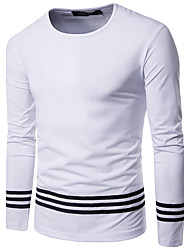 abordables -Hombre Simple Noche Casual/Diario Otoño Camiseta,Escote Redondo Un Color A Rayas Manga Larga Algodón