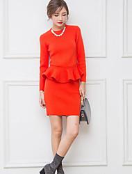 Damen Solide Einfach Lässig/Alltäglich T-Shirt-Ärmel Rock Anzüge,Rundhalsausschnitt Frühling Herbst Lange Ärmel